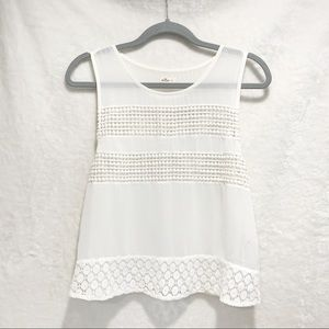 Hollister White Sheer Boxy Cut Tank Top